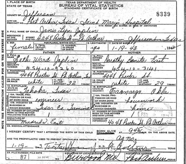 Janis Joplin official TX birth certificate