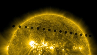 Venus transits the Sun in 2012. Image from NASA.
